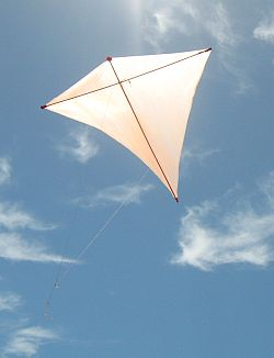 An Eddy kite in flight. Actually, it's the MBK Dowel Diamond, which is nearly the same thing.