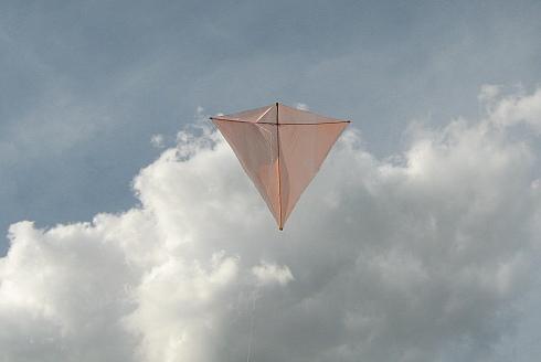 Our latest Dowel Diamond kite in flight.