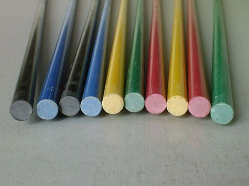 Fiberglass rods are available in various colors.