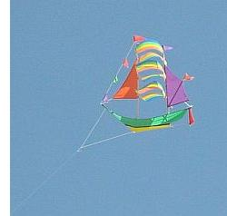 Funny kites can be quite small, like this galleon parked in mid-air.