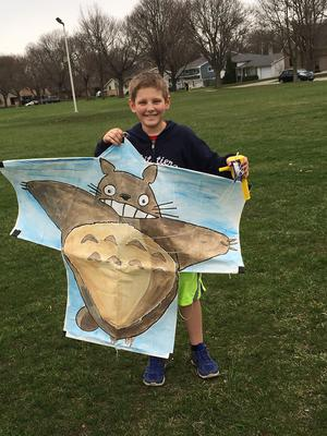 My son with the totoro sode kite