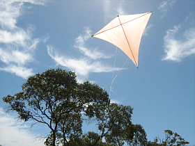Home-made kites are fun to fly, like this MBK Dowel Diamond.