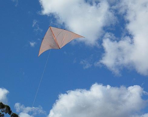 The MBK Dowel Delta floating on a light breeze.