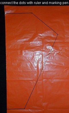 The 2-Skewer Barn Door - template shape marked on plastic bag.