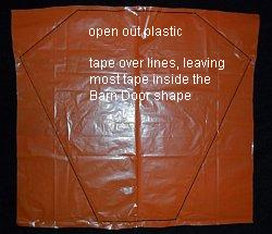 The 2-Skewer Barn Door - plastic opened to show complete sail outline.