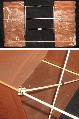 The 2-Skewer Box kite - adding the cross-pieces to brace the kite.