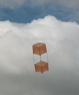 How To Build A Box Kite - the 2-Skewer Box in flight.