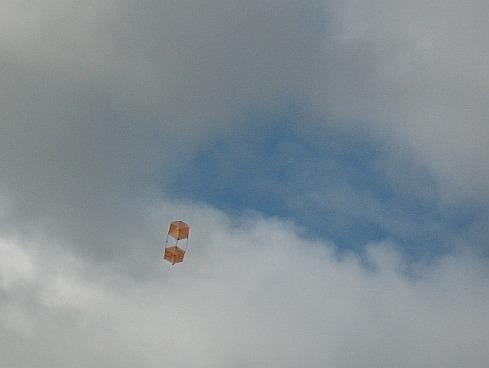 The 2-Skewer Box kite in flight.