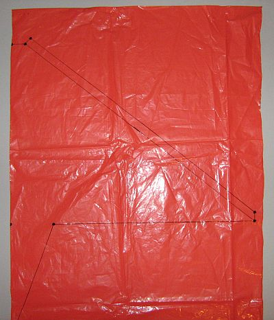 The 2-Skewer Delta - template marked onto plastic bag.