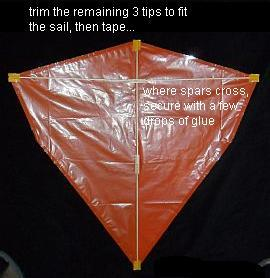 The 2-Skewer Diamond - spars taped to sail.