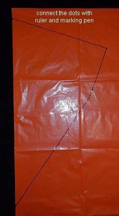 How to make a Diamond kite - lines drawn on un-cut bag