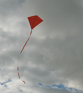The MBK Simple Diamond kite in flight.