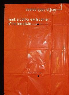 The 2-Skewer Rokkaku - dots marked on un-cut bag.