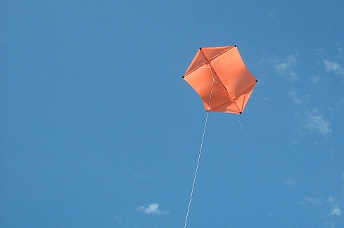 The MBK 2-Skewer Rokkaku kite in flight.