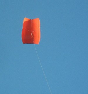 The MBK Simple Sled kite in flight on a 'blue' day.