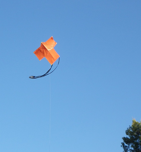 The MBK 2-Skewer Sode kite in flight.