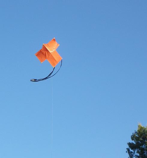 The MBK 2-Skewer Rokkaku kite in flight.
