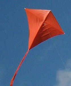 A close-up of the MBK Simple Diamond kite in flight.