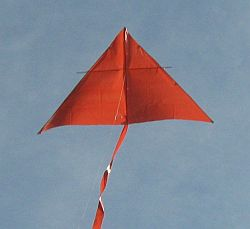 A close-up of the MBK Simple Delta kite in flight.