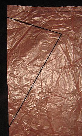 The 1-Skewer Diamond - template drawn onto bag.