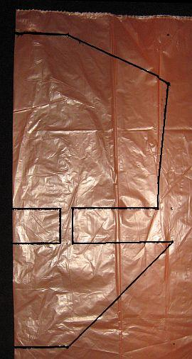 The 1-Skewer Dopero - template shape marked on plastic bag.