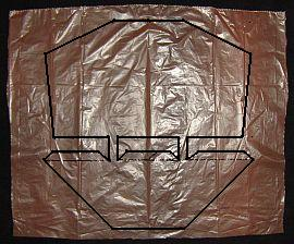 The 1-Skewer Dopero - complete sail outline marked on plastic.