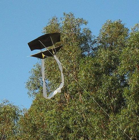 The very first 1-Skewer Dopero kite in flight.