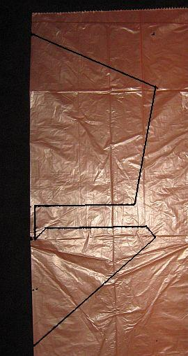 The 1-Skewer Roller - template shape marked on plastic bag.