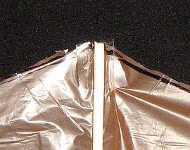 The 1-Skewer Roller - close-up of spar tip secured with sticky tape