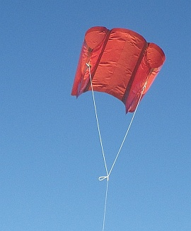 The MBK Soft Sled kite in flight.