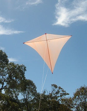 Learn how to make kites fly straight, like this home-made dowel and plastic Diamond.