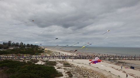 Looking towards the crowded jetty during the Adelaide Kite Festival 2016
