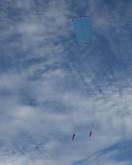 The KAP lifter kite in flight.