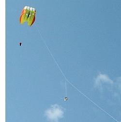 KAP equipment is often seen suspended under  a Sutton flowform kite.