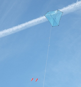 The KAP lifter kite in flight.