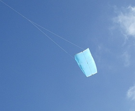 Multi-Dowel Sled kite in flight.