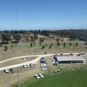 KAP image of Meningie oval and clubhouse, taken from the north.