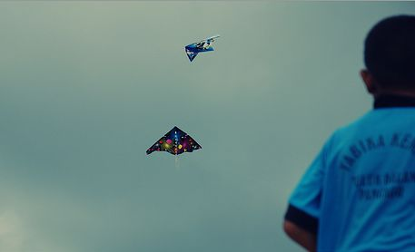 Two artistically decorated Delta kites in flight.