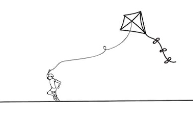 Kite clip art - a line-art kite-flying illustration