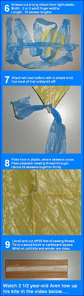Steps 6 to 9 for making the MBK Tiny Tots Diamond kite.