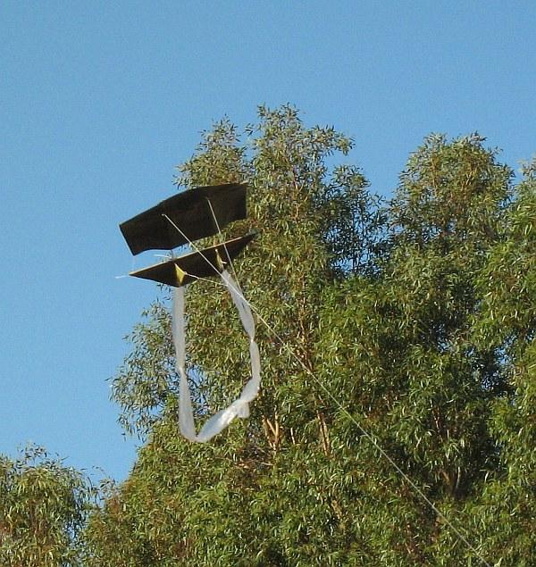 Our little 1-Skewer Dopero kite in flight.