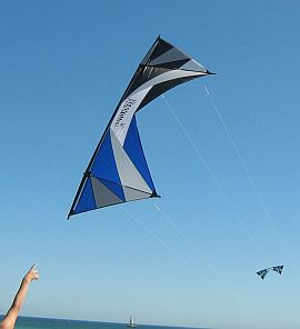 A flying quad kite in closeup.