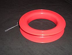 A circular plastic reel for storing line