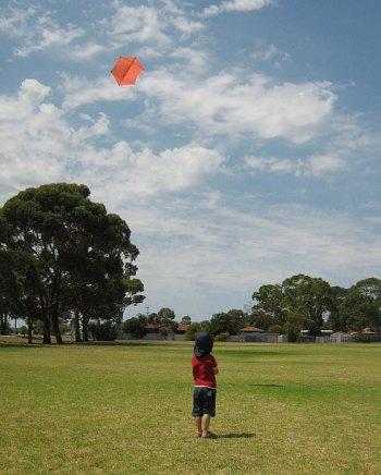 My son Aren flying the 2-Skewer Rokkaku kite.
