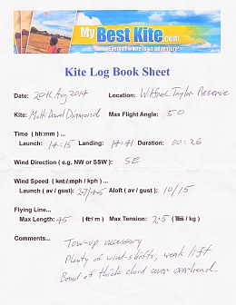 MBK Kite Log Book Sheet - download a PDF version from this page!