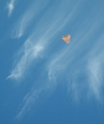 The Dowel Barn Door kite soaring high beneath a thin canopy of Cirrus cloud cover.