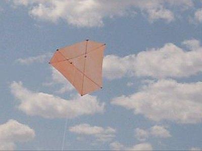 The MBK Dowel Barn Door kite in flight.