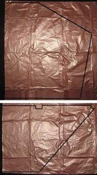 The Dowel Dopero - template shape marked on plastic bag.