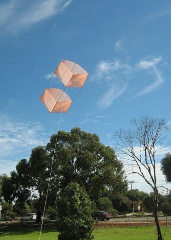The MBK Dowel Box kite in flight (moderate wind version)