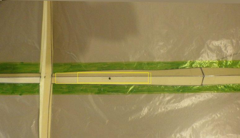 Making the Indoor Rokkaku kite - vertical spar reinforcement.